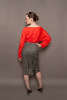 Grey wool skirt for professional women