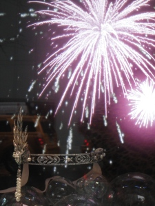 Fireworks make a spectacular back drop to the beautiful headpiece