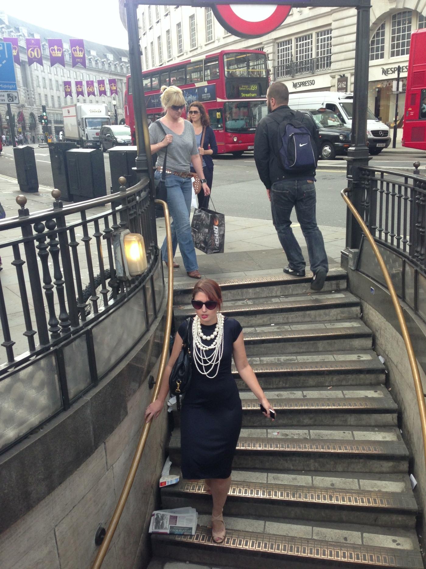 London Underground women's fashion dress