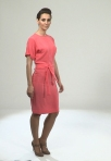 Eloise Dress in Coral 100% silk crepe de chine