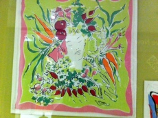 Marcel Vertes: 'Vegetable Patch' Screen-printed silk head scarf 1944