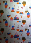 Andy Warhol: 'Ice Cream Sundaes' Screen Printed cotton fashion textiles 1962