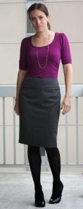 black tights, grey skirt