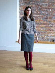 coloured tights, grey skirt, work wear
