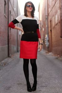 colour blocking, black, red and white