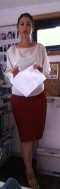 Fitted red pencil skirt