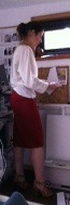 fitted red skirt, ivory blouse