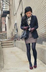 navy jacket and tights