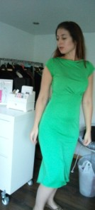 Front of work green silk dress