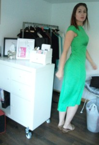 Green work wear dress