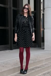 Burgundy red tights, pretty black dress outfit