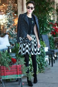 black tights geometric patterned skirt