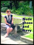 nude shoes, navy dress