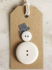 Christmas snowman gift tag label