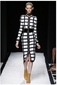 Balmain wide black belts to define the models waist S/S 15