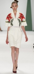White floral dress from Carolina Herrera S/S 15 collection